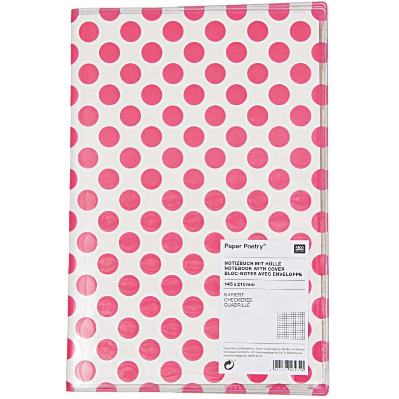 NOTEBOOK WITH COVER, PINK DOTS