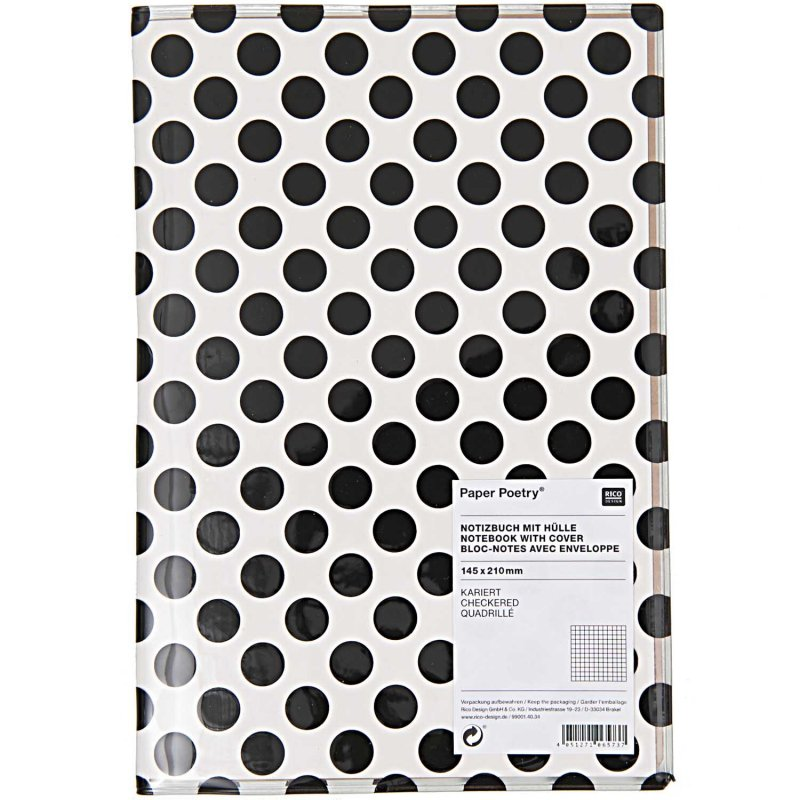 NOTEBOOK WITH COVER, BLACK DOT