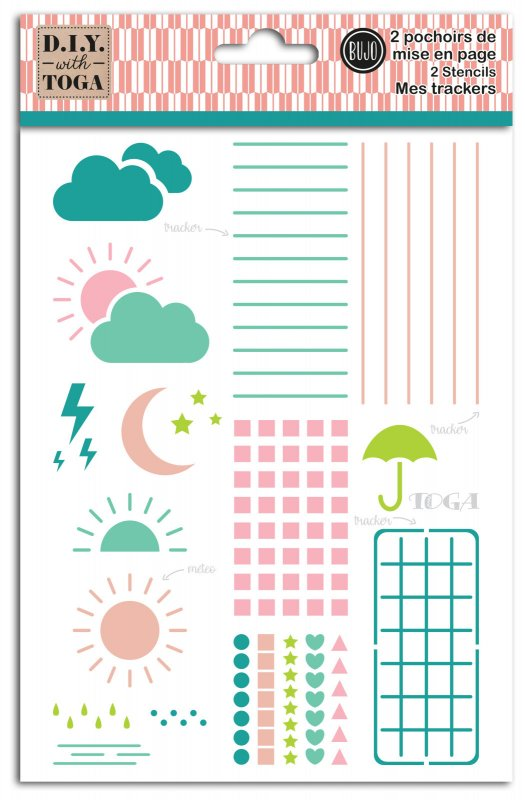 2 stencil Bullet Journal: tracker, layout, meteo