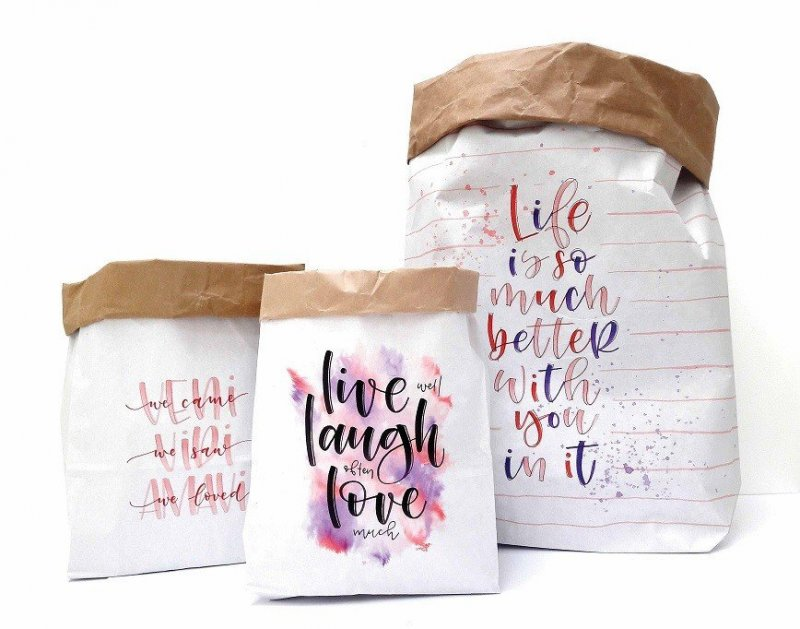 3 Buste Carta da decorare XL - M - S live love