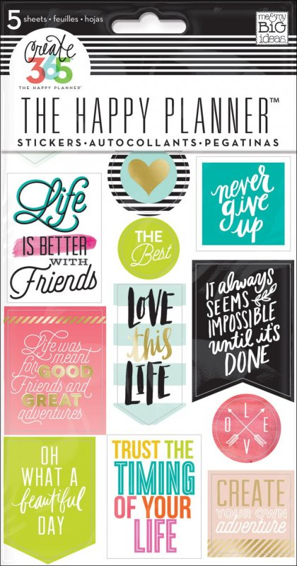 5 fogli Stickers per Planner - LIFE QUOTES