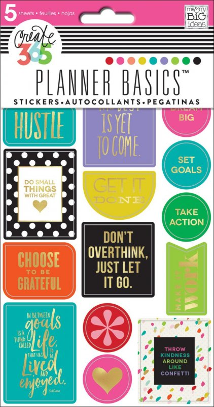 5 fogli Stickers per Planner - Basic Bright